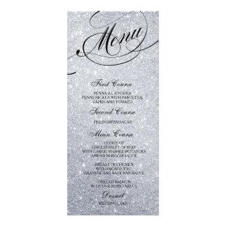 Wedding Dinner Menu Card Silver Glitter Lights