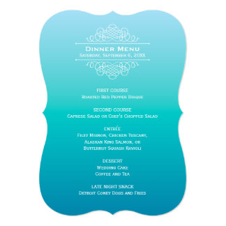 Wedding Dinner Menu Card | Teal Blue Ombre Design