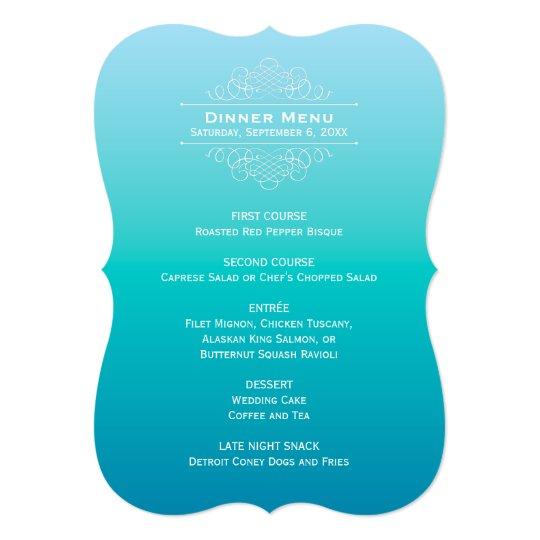 Wedding Dinner Menu Card   Teal Blue Ombre Design