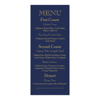 Wedding Dinner Menu Card With Dark Blue Color Tone