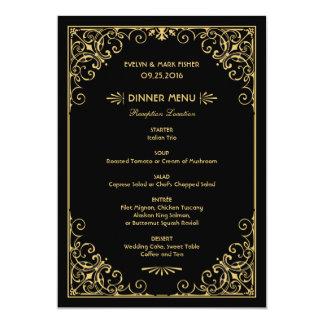 "Wedding Dinner Menu Cards | Art Deco Style 5"" X 7"" Invitation Card"