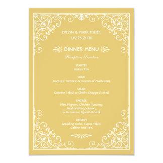 "Wedding Dinner Menu Cards   Art Deco Style 5"" X 7"" Invitation Card"