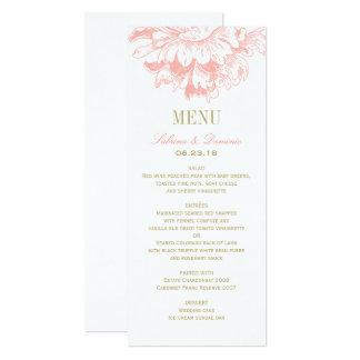 Wedding Dinner Menu Cards   Coral Floral Peony