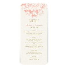 Wedding Dinner Menu Cards | Coral Floral Peony