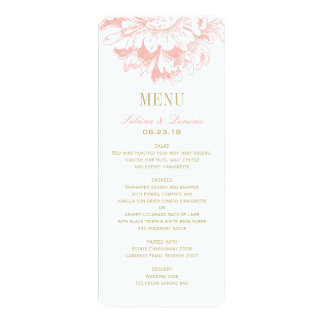 "Wedding Dinner Menu Cards | Coral Floral Peony 4"" X 9.25"" Invitation Card"