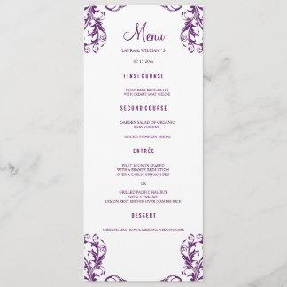 Wedding Dinner Menu Cards | Eggplant Damask Style