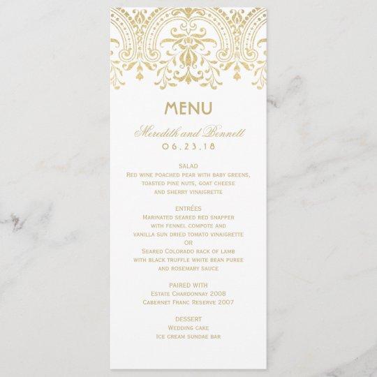 Wedding Dinner Menu Cards Gold Vintage Glam