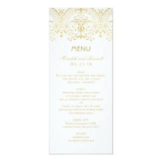 Wedding Dinner Menu Cards | Gold Vintage Glam