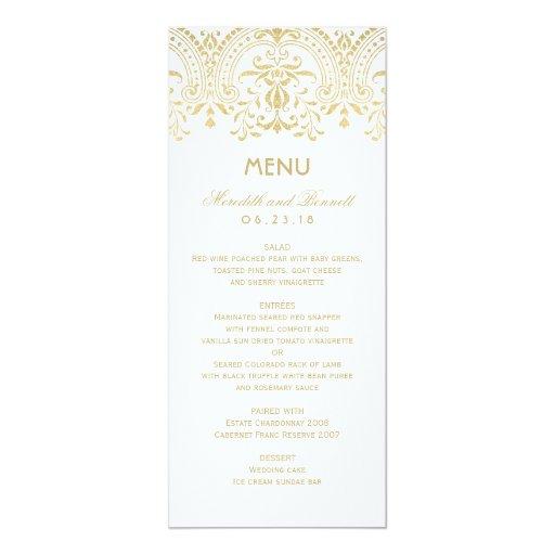 wedding dinner menu cards gold vintage glam zazzle