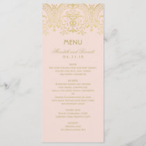 Wedding Dinner Menu Cards | Gold Vintage Glam