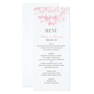 Wedding Dinner Menu Cards   Pink Floral Peony