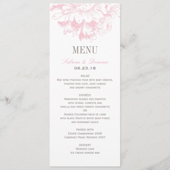 Wedding Dinner Menu Cards Pink Fl Peony
