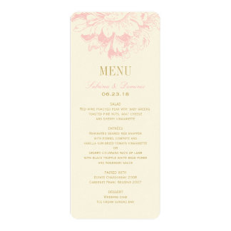 "Wedding Dinner Menu Cards | Pink Floral Peony 4"" X 9.25"" Invitation Card"