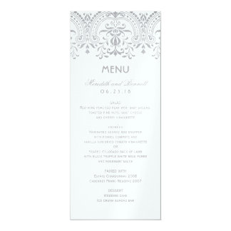 Wedding Dinner Menu Cards   Silver Vintage Glam
