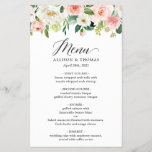 """Wedding Dinner Menu Chic Blush Pink White Floral<br><div class=""""desc"""">Blush Pink White Floral Wedding Dinner Menu. For further customization,  please click the """"customize further"""" link and use our design tool to modify this template. If you need help or matching items,  please contact me.</div>"""