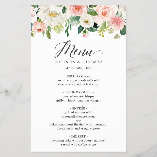 Wedding Dinner Menu Chic Blush Pink White Floral