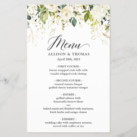 Wedding Dinner Menu Nature Green White Rose Floral