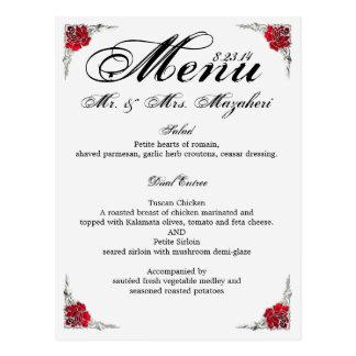Wedding Dinner Menu Shalicia Postcard