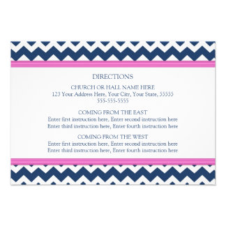 Wedding Direction Cards Blue Hot Pink Chevron