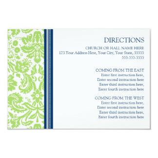 Wedding Direction Cards Lime Blue Damask