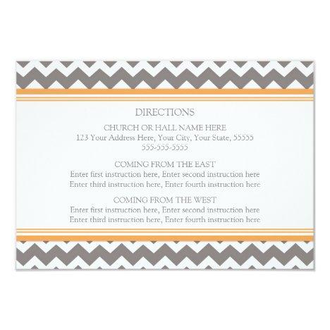 Wedding Direction Cards Orange Grey Chevron