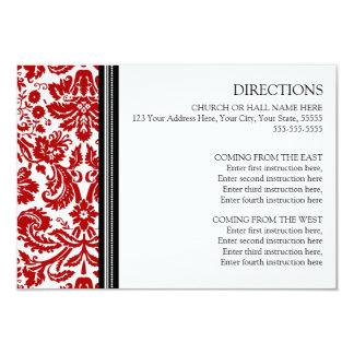 Wedding Direction Cards Red Black Damask