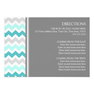 Wedding Direction Cards Teal Grey Chevron