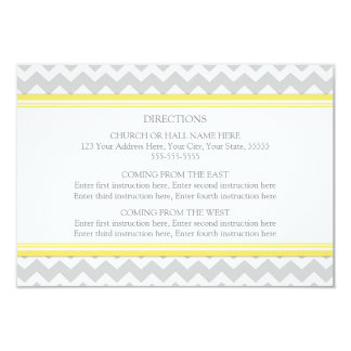 Wedding Direction Cards Yellow Grey Chevron