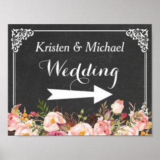 Wedding Direction Sign   Vintage Chalkboard Floral at Zazzle
