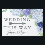 """Wedding Directional Yard Sign Hydrangea<br><div class=""""desc"""">Lead the way with this lovely yard sign! Easily edit the name and event. Rotate the arrow as needed!</div>"""