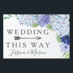 "Wedding Directional Yard Sign Hydrangea<br><div class=""desc"">Lead the way with this lovely yard sign! Easily edit the name and event. Rotate the arrow as needed!</div>"
