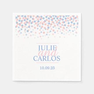 Wedding dot confetti blue pink custom napkins