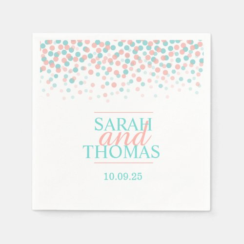 Wedding dot confetti coral teal custom napkins