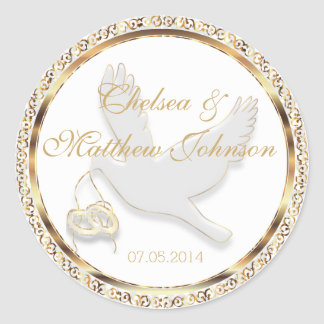 Wedding Dove for the Bride and Groom Classic Round Sticker