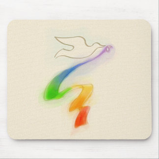 Wedding Dove with Rainbow Ribbon Mouse Pad