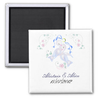 Wedding Doves 2 Inch Square Magnet