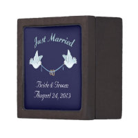 Wedding Doves and Rings Just Married Gift Box