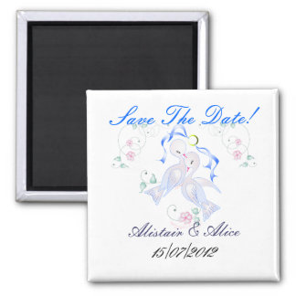 Wedding Doves Save The Date 2 Inch Square Magnet