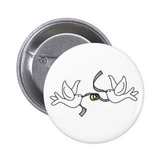 Wedding Doves with Rings Button