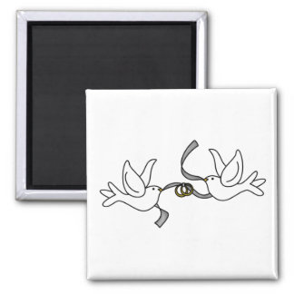 Wedding Doves with Rings Magnet