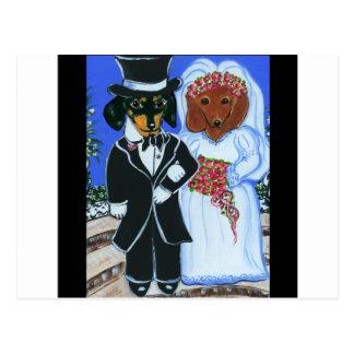 Wedding Doxies Postcard