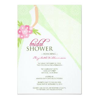 Wedding Dress_2 Bridal Shower Invitation (mint)