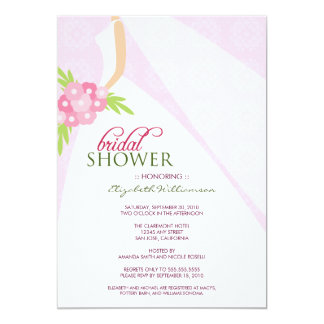 Wedding Dress_2 Bridal Shower Invitation (pink)