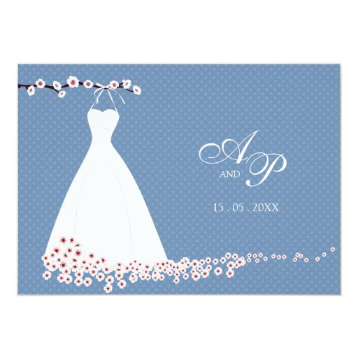 Wedding Dress and Cherry Blossom, Polka Dots Weddi 5x7 Paper Invitation Card
