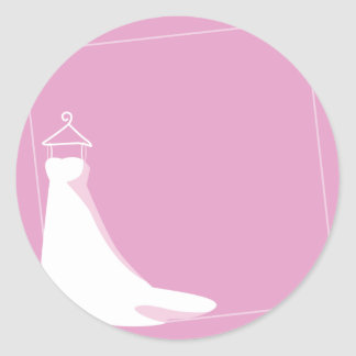 Wedding Dress: Beautify in pink Classic Round Sticker