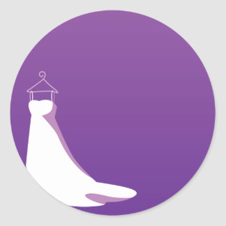 Wedding Dress: Beautify in purple Classic Round Sticker