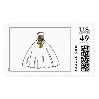 Wedding Dress Blue Bouquet Postage Stamps