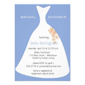 Wedding Dress Blue Bridal Shower Invitation