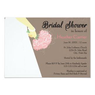 Wedding Dress & Bouquet - 3x5 Bridal Shower Invite