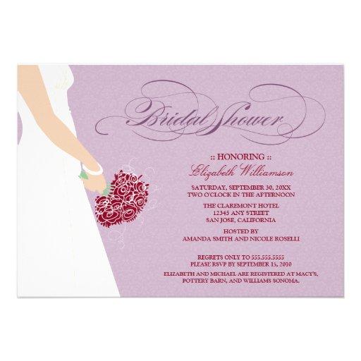 Wedding Dress Bridal Party Invitation Purple 5 X 7 Invitation Card